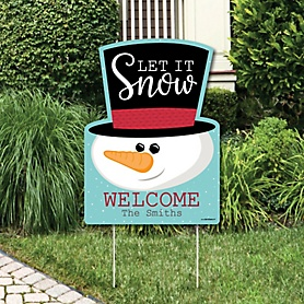 Let It Snow - Snowman - Party Decorations - Christmas & Holiday Personalized Welcome Yard Sign