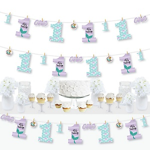 1st Birthday Let's Be Mermaids - First Birthday Party DIY Decorations - Clothespin Garland Banner - 44 Pieces