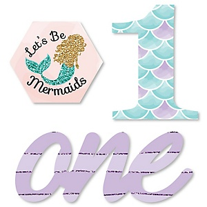 1st Birthday Let's Be Mermaids - DIY Shaped First Birthday Party Cut-Outs - 24 ct