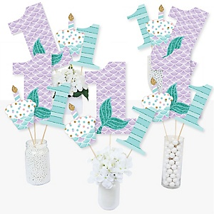 1st Birthday Let's Be Mermaids - First Birthday Party Centerpiece Sticks - Table Toppers - Set of 15