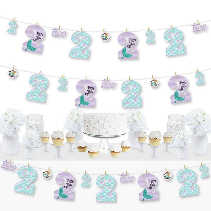2nd Birthday Let's Be Mermaids - Second Birthday Party DIY Decorations - Clothespin Garland Banner - 44 Pieces