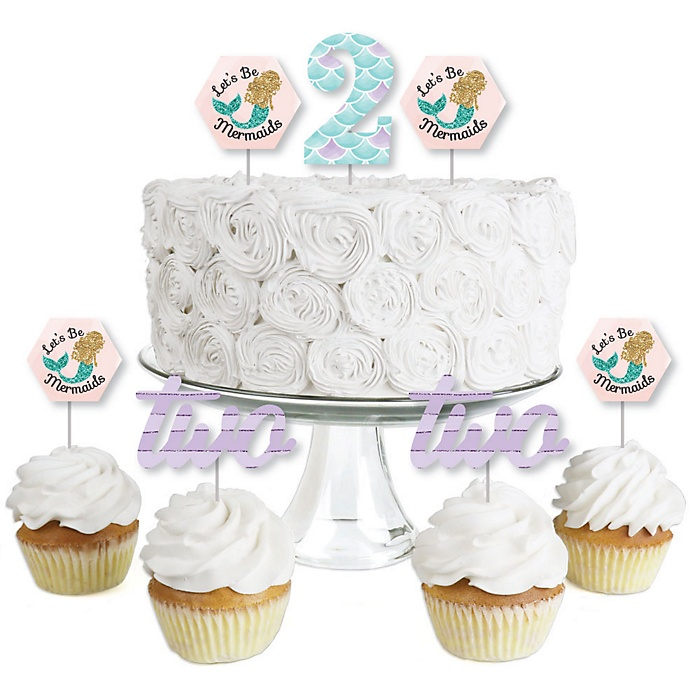 2nd Birthday Let's Be Mermaids - Dessert Cupcake Toppers - Second Birthday Party Clear Treat Picks - Set of 24