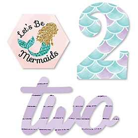 2nd Birthday Let's Be Mermaids - DIY Shaped Second Birthday Party Cut-Outs - 24 ct