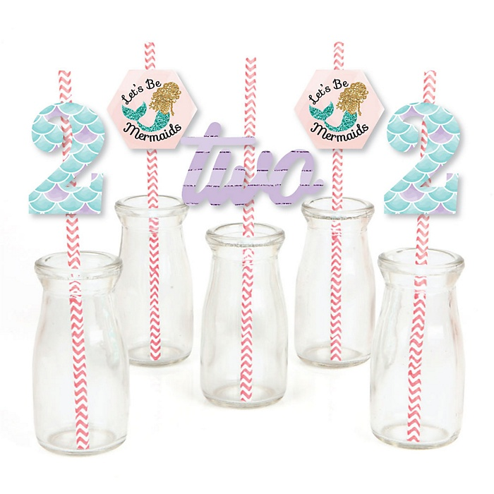 2nd Birthday Let's Be Mermaids - Paper Straw Decor - Second Birthday Party Striped Decorative Straws - Set of 24