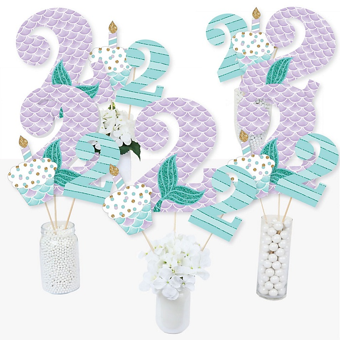 2nd Birthday Let's Be Mermaids - Second Birthday Party Centerpiece Sticks - Table Toppers - Set of 15
