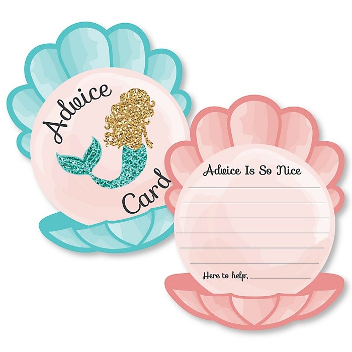 Let's Be Mermaids - Seashell Wish Card Baby Shower Activities - Shaped Advice Cards Game - Set of 20