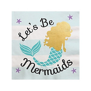 Let's Be Mermaids with Gold Foil Baby Shower or Birthday Party Cocktail Beverage Napkins - 16 ct