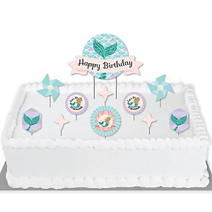 Let's Be Mermaids - Birthday Party Cake Decorating Kit - Happy Birthday Cake Topper Set - 11 Pieces