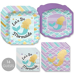 Let's Be Mermaids with Gold Foil Baby Shower or Birthday Party Tableware Plates and Napkins - Bundle for 16