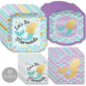 Let's Be Mermaids with Gold Foil Baby Shower or Birthday Party Tableware Plates and Napkins - Bundle for 32