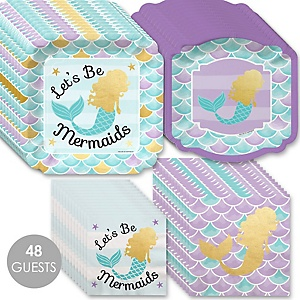 Let's Be Mermaids with Gold Foil Baby Shower or Birthday Party Tableware Plates and Napkins - Bundle for 48