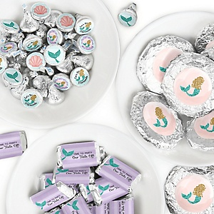 Let's Be Mermaids - Mini Candy Bar Wrappers, Round Candy Stickers and Circle Stickers - Baby Shower or Birthday Party Candy Favor Sticker Kit - 304 Pieces