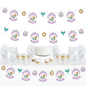 Let's Be Mermaids - Baby Shower or Birthday Party DIY Decorations - Clothespin Garland Banner - 44 Pieces