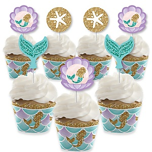 Let's Be Mermaids - Cupcake Decorations - Baby Shower or Birthday Party Cupcake Wrappers and Treat Picks Kit - Set of 24