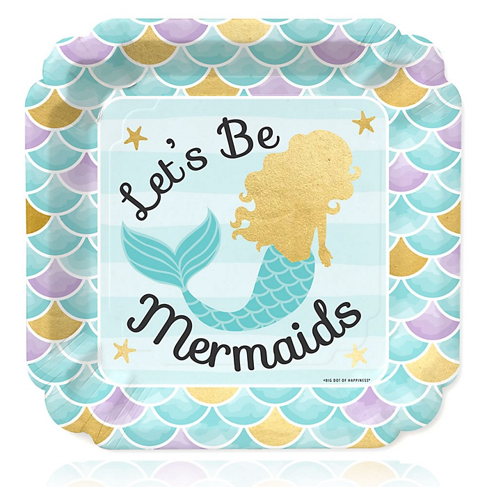 Let's Be Mermaids with Gold Foil Baby Shower or Birthday Party Dinner Plates - 16 ct