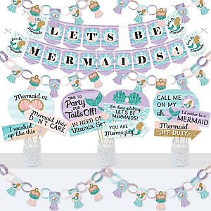 Let's Be Mermaids - Banner and Photo Booth Decorations - Baby Shower or Birthday Party Supplies Kit - Doterrific Bundle