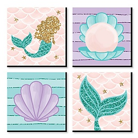 Let's Be Mermaids - Kids Room, Nursery Decor and Home Decor - 11 x 11 inches Nursery Wall Art - Set of 4 Prints for Baby's Room