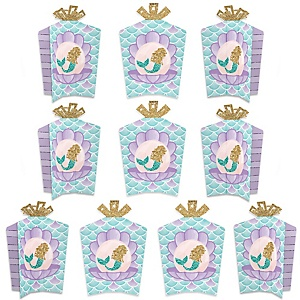 Let's Be Mermaids - Table Decorations - Baby Shower or Birthday Party Fold and Flare Centerpieces - 10 Count