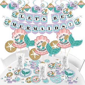 Let's Be Mermaids - Baby Shower or Birthday Party Supplies - Banner Decoration Kit - Fundle Bundle