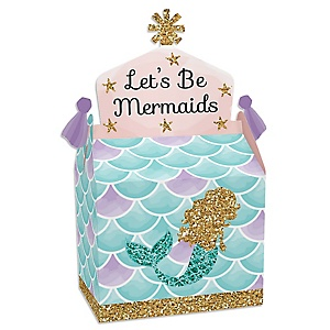 Let's Be Mermaids - Treat Box Party Favors - Baby Shower or Birthday Party Goodie Gable Boxes - Set of 12