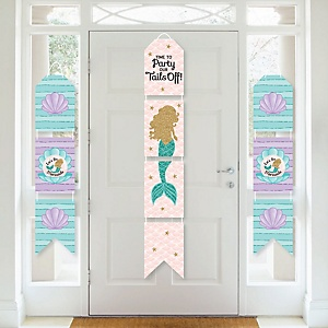 Let's Be Mermaids - Hanging Vertical Paper Door Banners - Baby Shower or Birthday Party Wall Decoration Kit - Indoor Door Decor