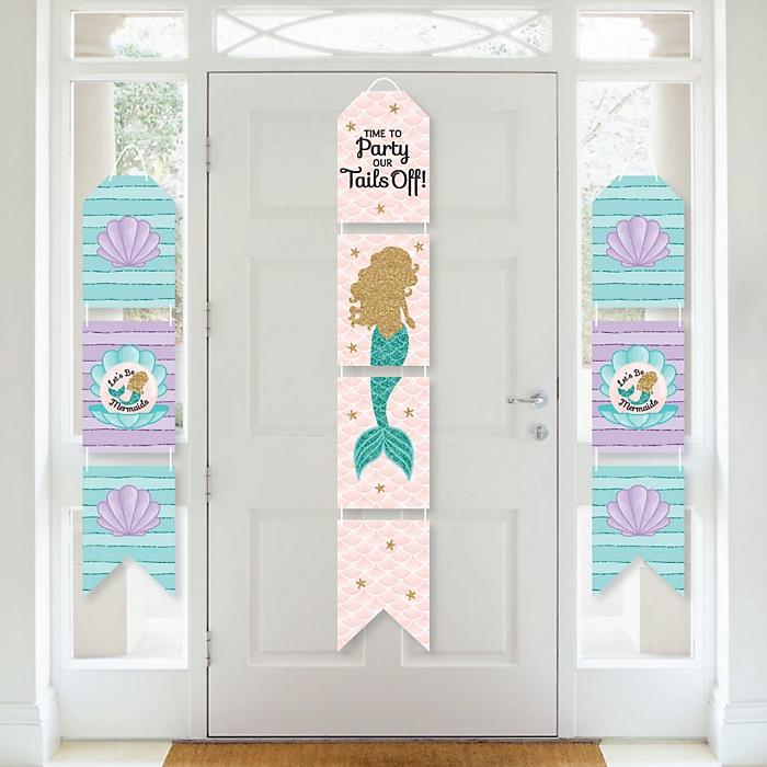 Let's Be Mermaids - Hanging Vertical Paper Door Banners - Baby Shower or Birthday Party Wall Decoration Kit - Indoor Door Decor