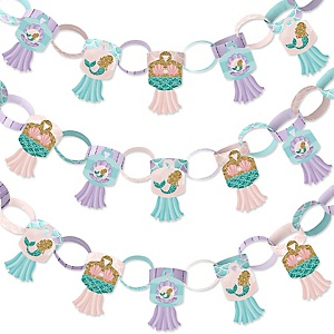 Let's Be Mermaids - 90 Chain Links and 30 Paper Tassels Decoration Kit - Baby Shower or Birthday Party Paper Chains Garland - 21 feet
