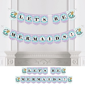 Let's Be Mermaids - Baby Shower or Birthday Party Bunting Banner - Party Decorations - Let's Be Mermaids