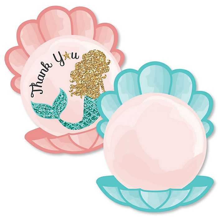 Let's Be Mermaids - Shaped Thank You Cards - Baby Shower or Birthday Party Thank You Note Cards with Envelopes - Set of 12