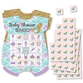 Let's Be Mermaids - Picture Bingo Cards and Markers - Baby Shower Shaped Bingo Game - Set of 18