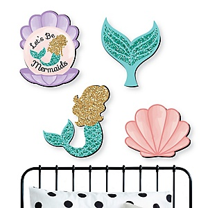 Let's Be Mermaids - Nursery and Kids Room Home Decorations - Shaped Wall Art - 4 Piece