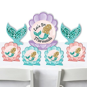 Let's Be Mermaids - Baby Shower or Birthday Party Centerpiece Table Decorations - Tabletop Standups - 7 Pieces