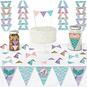 Let's Be Mermaids - DIY Pennant Banner Decorations - Baby Shower or Birthday Party Triangle Kit - 99 Pieces
