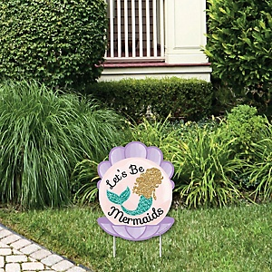 Let's Be Mermaids - Outdoor Lawn Sign - Baby Shower or Birthday Party Yard Sign - 1 Piece