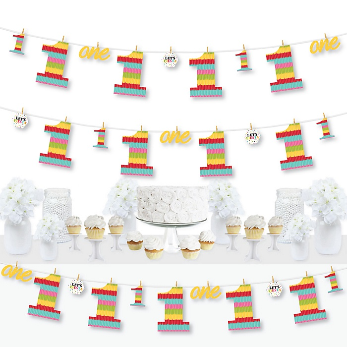 1st Birthday Let's Fiesta - Mexican Fiesta First Birthday Party DIY Decorations - Clothespin Garland Banner - 44 Pieces