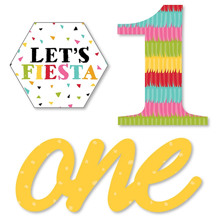 1st Birthday Let's Fiesta - DIY Shaped Mexican Fiesta First Birthday Party Cut-Outs - 24 ct