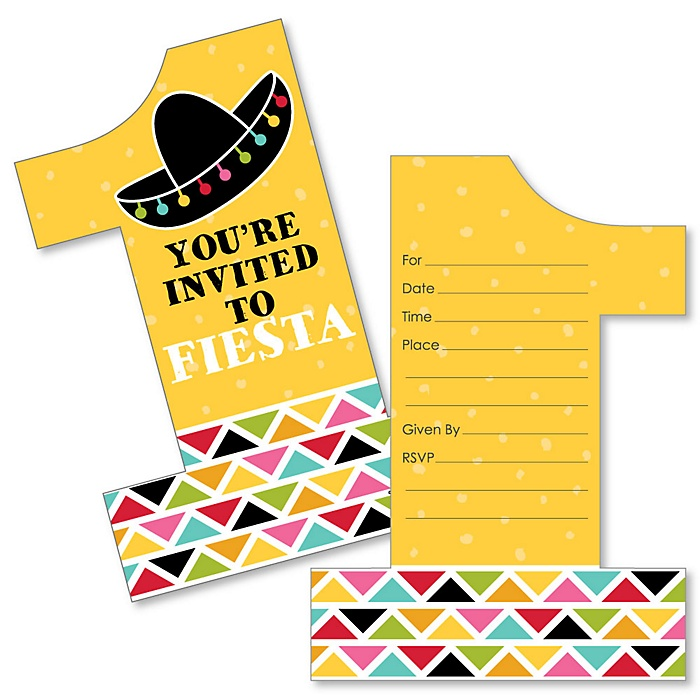1st Birthday Let's Fiesta - Shaped Fill-In Invitations - Mexican Fiesta First Birthday Party Invitation Cards with Envelopes - Set of 12