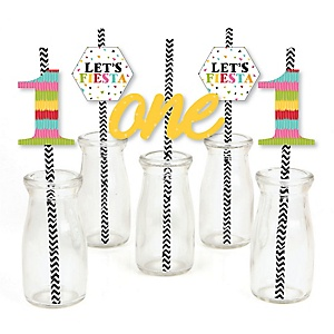 1st Birthday Let's Fiesta - Paper Straw Decor - Mexican Fiesta First Birthday Party Striped Decorative Straws - Set of 24