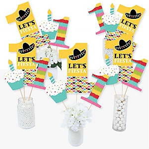 1st Birthday Let's Fiesta - Mexican Fiesta First Birthday Party Centerpiece Sticks - Table Toppers - Set of 15