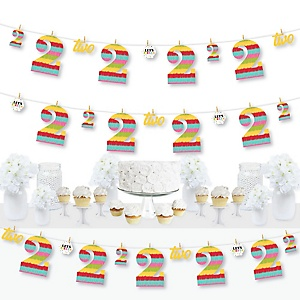 2nd Birthday Let's Fiesta - Mexican Fiesta Second Birthday Party DIY Decorations - Clothespin Garland Banner - 44 Pieces
