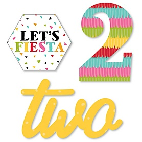 2nd Birthday Let's Fiesta - DIY Shaped Mexican Fiesta Second Birthday Party Cut-Outs - 24 ct