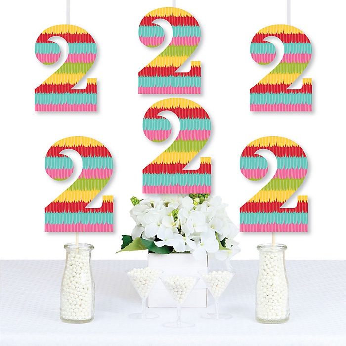 2nd Birthday Let's Fiesta - Two Shaped Decorations DIY Mexican Fiesta Second Birthday Party Essentials - Set of 20