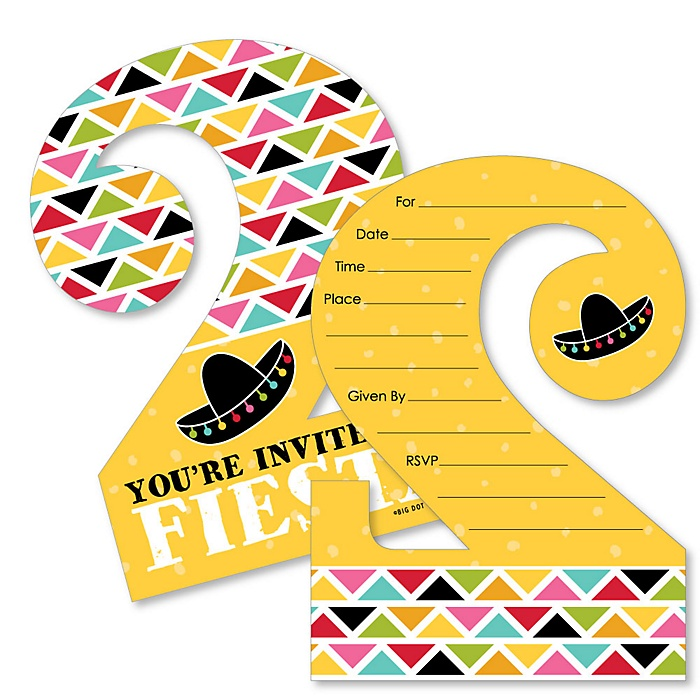 2nd Birthday Let's Fiesta - Shaped Fill-In Invitations - Mexican Fiesta Second Birthday Party Invitation Cards with Envelopes - Set of 12