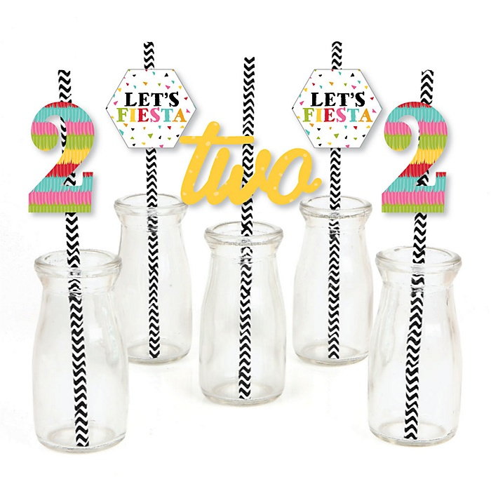2nd Birthday Let's Fiesta - Paper Straw Decor - Mexican Fiesta Second Birthday Party Striped Decorative Straws - Set of 24