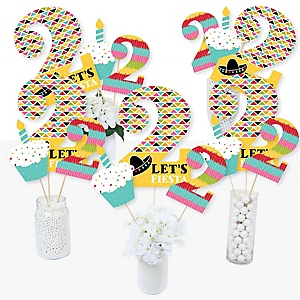 2nd Birthday Let's Fiesta - Mexican Fiesta Second Birthday Party Centerpiece Sticks - Table Toppers - Set of 15