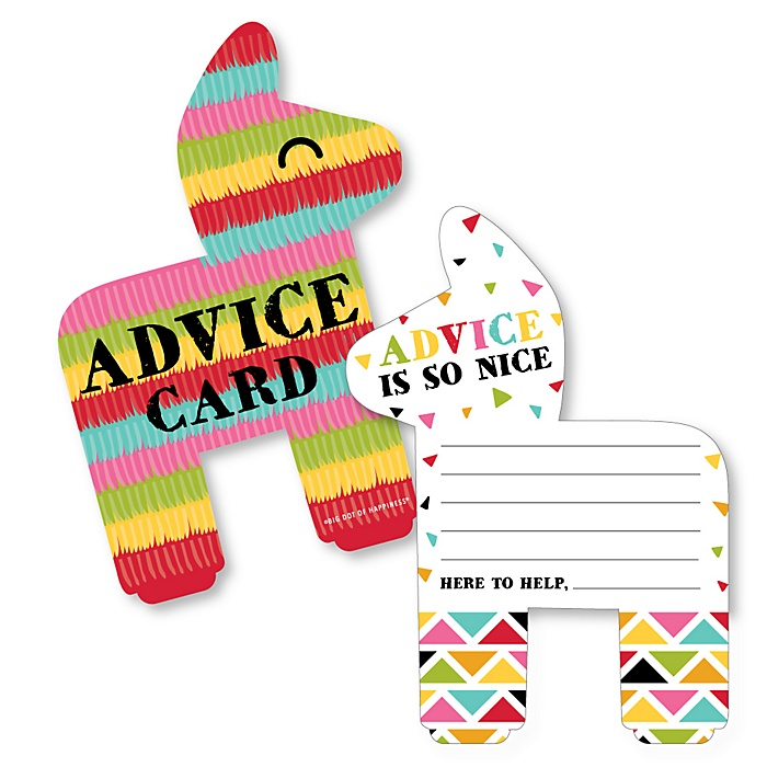 Let's Fiesta - Pinata Wish Card Mexican Fiesta Baby, Bridal Shower or Bachelorette Party Activities - Shaped Advice Cards Game - Set of 20