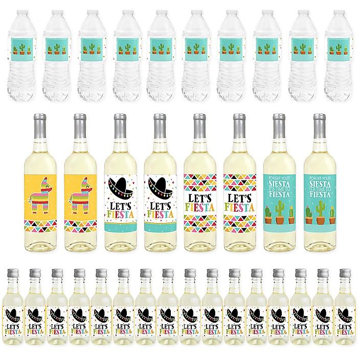 Let's Fiesta - Mini Wine Bottle Labels, Wine Bottle Labels and Water Bottle Labels - Mexican Fiesta Decorations - Beverage Bar Kit - 34 Pieces