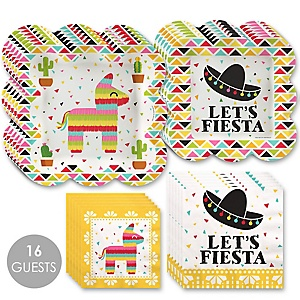 Let's Fiesta - Mexican Fiesta Tableware Plates and Napkins - Bundle for 16
