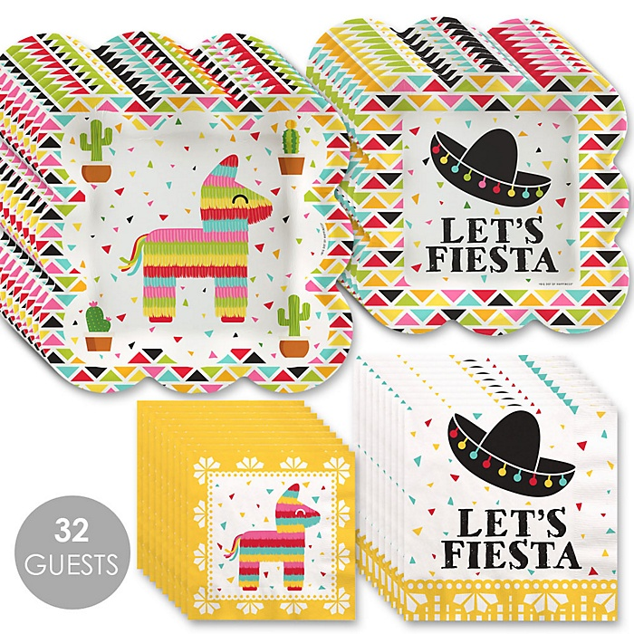 Let's Fiesta - Mexican Fiesta Tableware Plates and Napkins - Bundle for 32