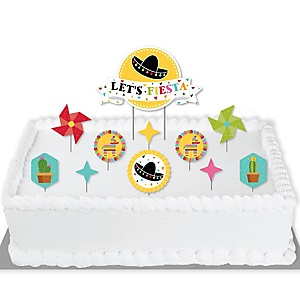 Let's Fiesta - Mexican Fiesta Cake Decorating Kit - Let's Fiesta Cake Topper Set - 11 Pieces